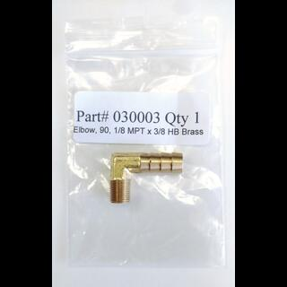 Part # 030003 Elbow, 90, 1/8 MPT x 3/8 HB Brass (Polar Bear Part#  30008)